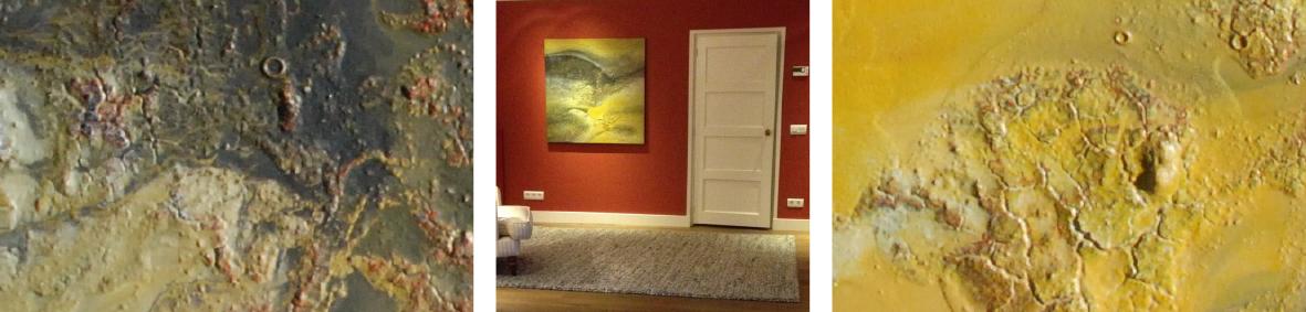 detail 'Paseo por la orilla' en de plaats waar het schilderij hangt op de rode muur