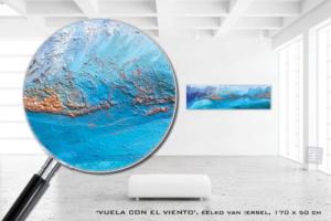 Schilderij kunstwerk Eelko van Iersel olieverf zand op doek abstract expressief blauw
