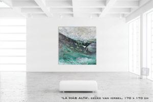 Schilderij La MAS ALTA van Eelko van Iersel, olieverf en zand op doek abstract abstractpainting colourfield spiritueel reis landschap kleurrijk Himalaya