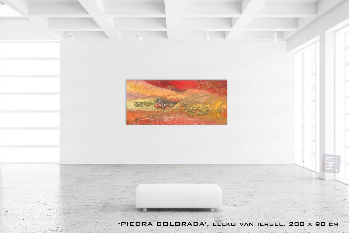 Schilderij PIERDA COLORADA van Eelko van Iersel, olieverf en zand op doek, abstract, kleurrijk, expressief, moderne kunst, hedendaagse kunst
