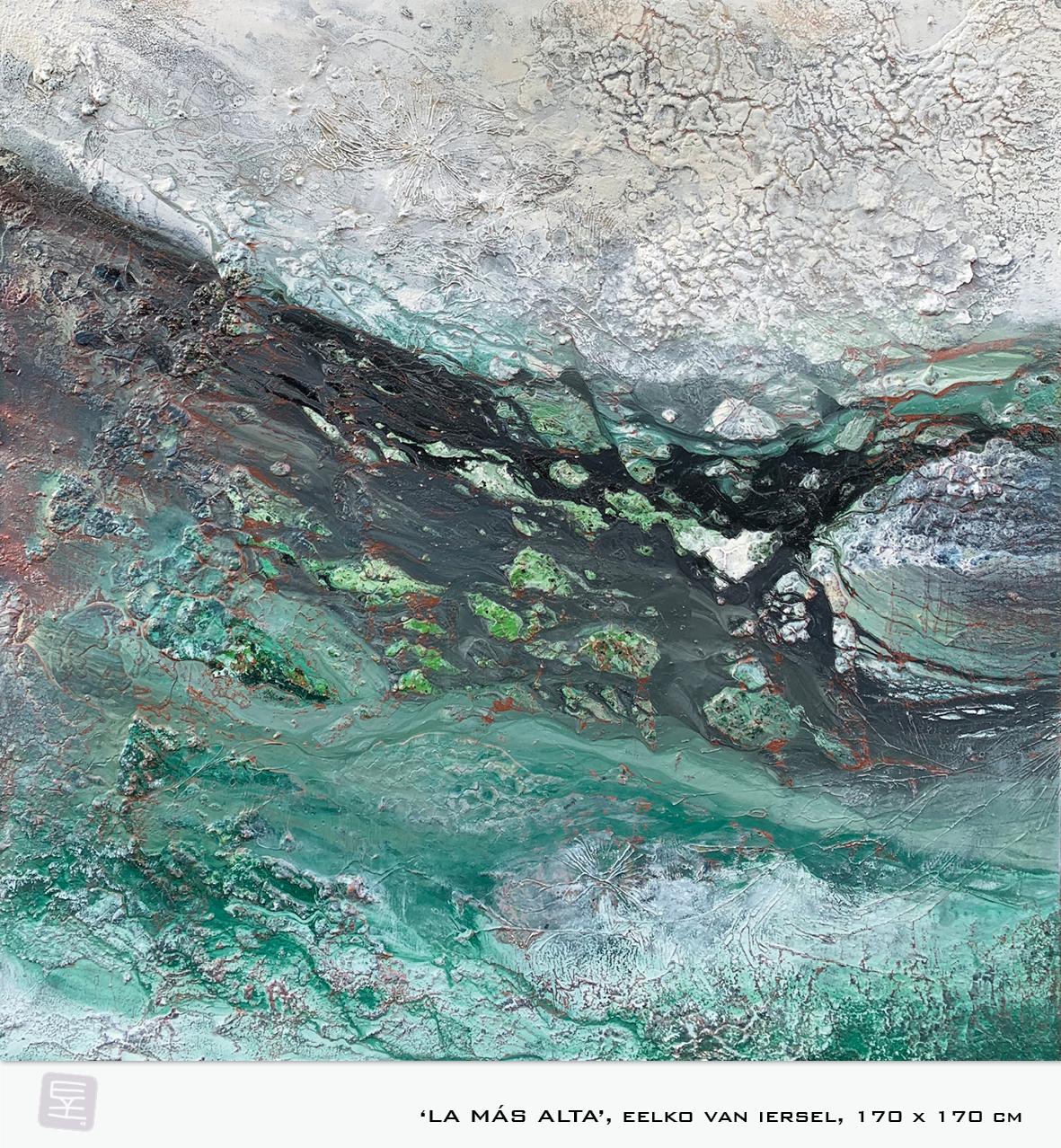 Schilderij LA MAS ALTA van Eelko van Iersel, olieverf en zand op doek abstract abstractpainting colourfield spiritueel reis landschap kleurrijk Himalaya Phuktal