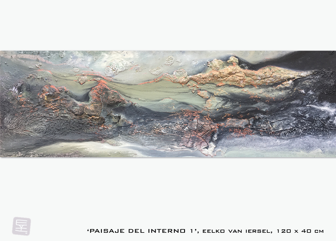 Schilderij Paisaje del interno 1 van Eelko van Iersel, olieverf en zand op doek abstract abstractpainting colourfield spiritueel reis landschap kleurrijk Himalaya Phuktal