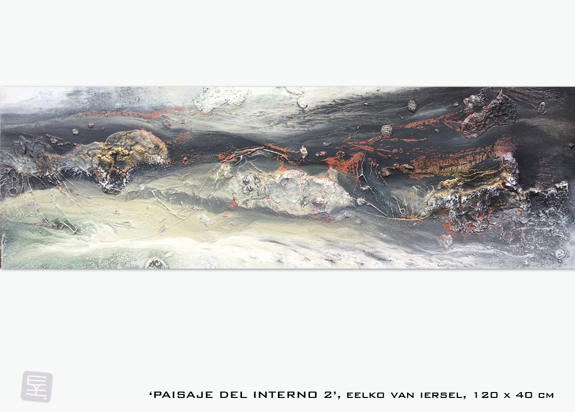 Schilderij Paisaje del interno 2 van Eelko van Iersel, olieverf en zand op doek abstract abstractpainting colourfield spiritueel reis landschap kleurrijk Himalaya Phuktal