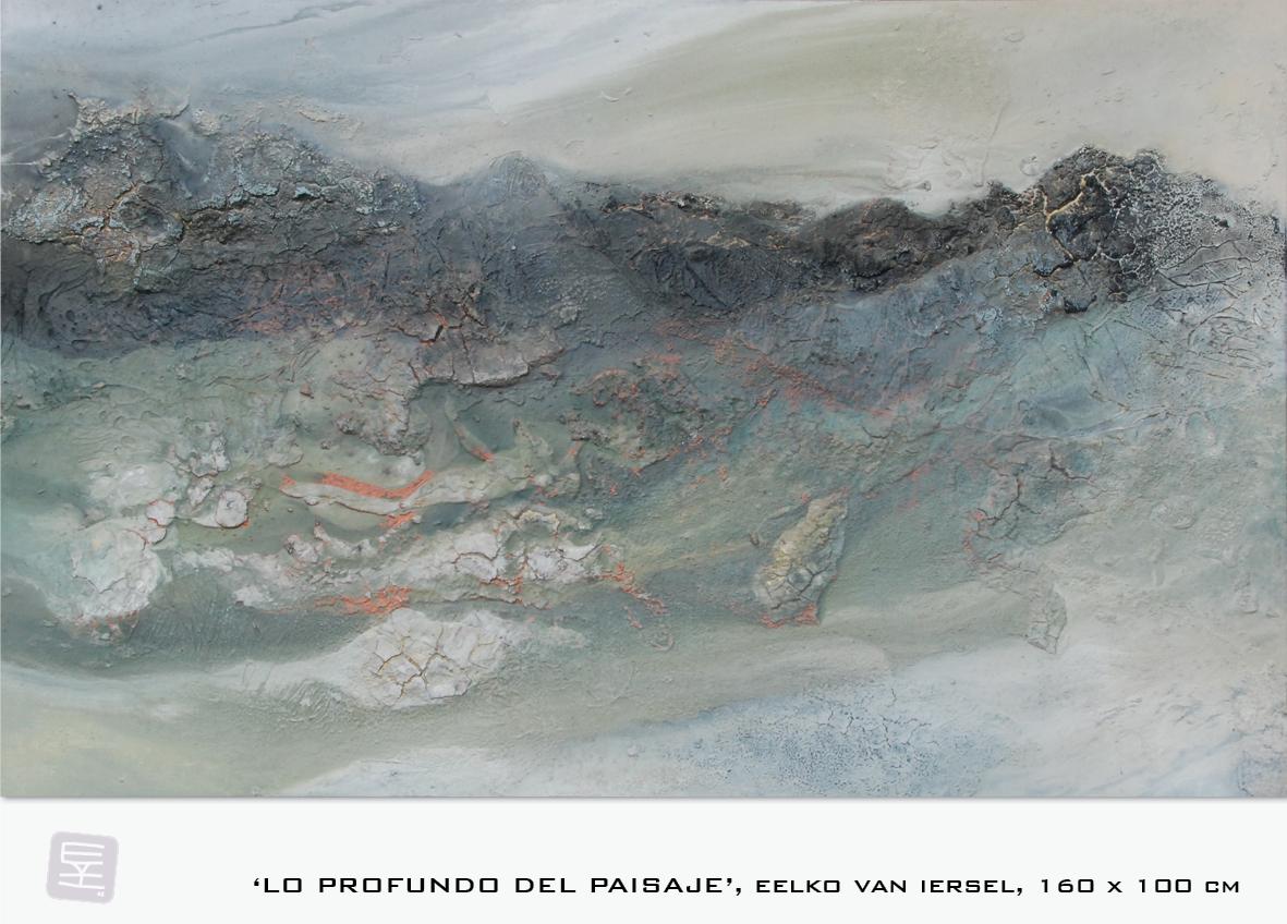 Schilderij Lo profundo del paisaje van Eelko van Iersel, olieverf en zand op doek abstract abstractpainting colourfield spiritueel reis landschap kleurrijk Himalaya Phuktal