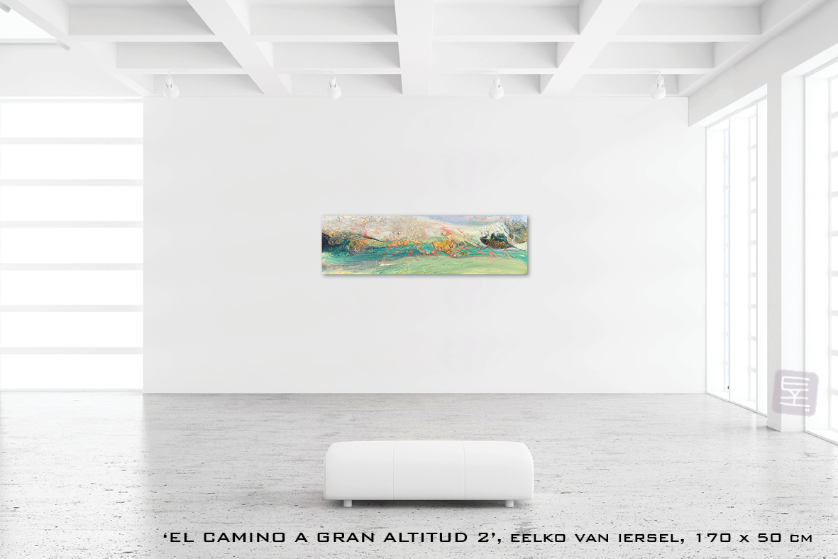 Schilderij EL CAMINO A GRAN ALTITUD 1 van Eelko van Iersel, olieverf en zand op doek abstract abstractpainting colourfield spiritueel reis landschap kleurrijk Himalaya Phuktal