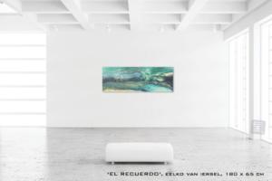 Schilderij RECUERDO van Eelko van Iersel, olieverf en zand op doek abstract abstractpainting colourfield spiritueel reis landschap kleurrijk Himalaya Phuktal