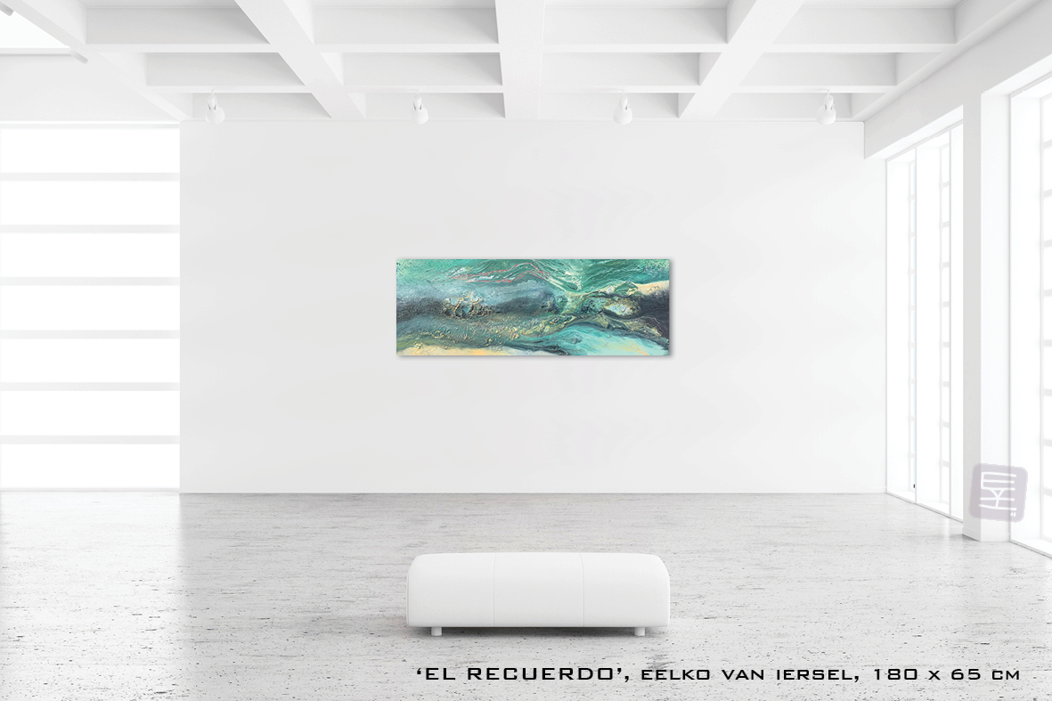 Schilderij RECUERDO van Eelko van Iersel, olieverf en zand op doek abstract abstractpainting colourfield spiritueel reis landschap kleurrijk Himalaya Phuktal