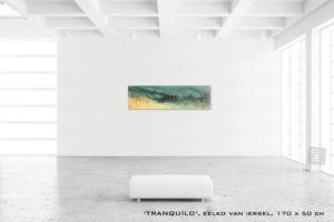 Schilderij TRANQUILO van Eelko van Iersel, olieverf en zand op doek abstract abstractpainting colourfield spiritueel reis landschap kleurrijk Himalaya Phuktal