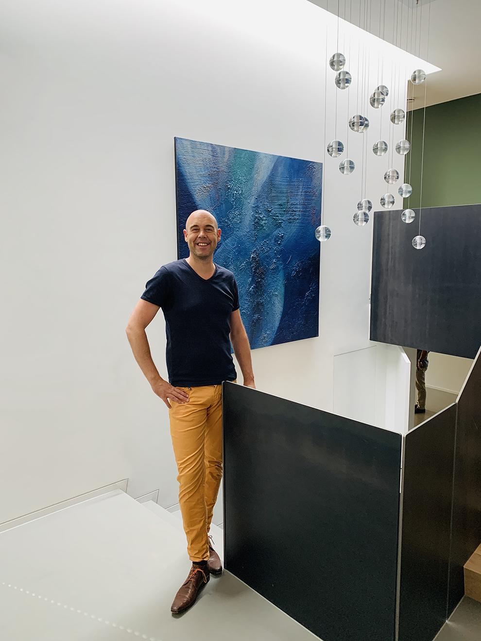 masterpiece Eelko van Iersel schilderij blauw spiritueel onderwaterwereld ocean oceaan zee lichtwerk kunstschilder groot formaat grote schilderijen abstract te koop expressief