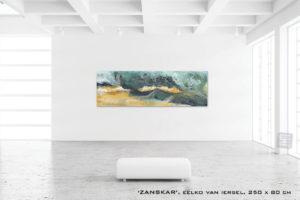 Schilderij ZANSKAR van Eelko van Iersel, olieverf en zand op doek abstract abstractpainting colourfield spiritueel reis landschap kleurrijk Himalaya Phuktal Zanskar Valley Valle de Zanskar India painting