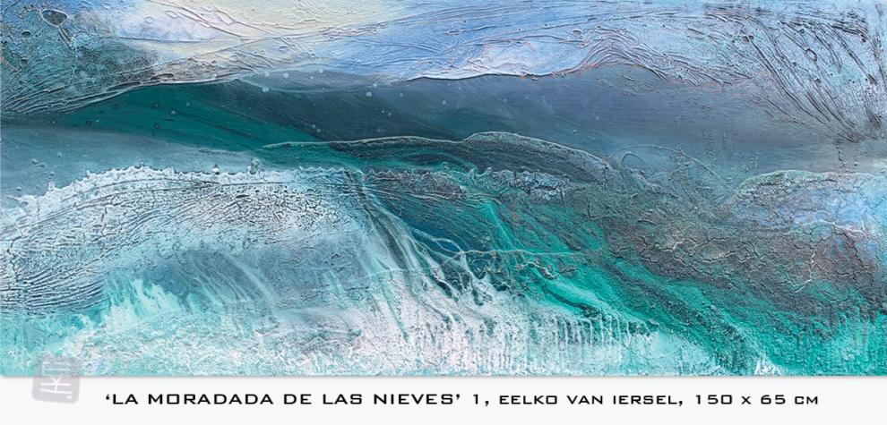 Schilderij Eelko van Iersel, olieverf en zand op doek abstract abstractpainting colourfield spiritueel reis landschap kleurrijk Himalaya Phuktal inspiratie Ladakh Nepal India