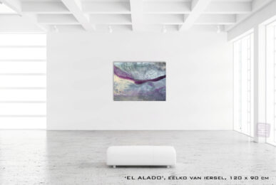 Schilderij EL ALADO van Eelko van Iersel, olieverf en zand op doek abstract abstractpainting colourfield spiritueel reis landschap kleurrijk