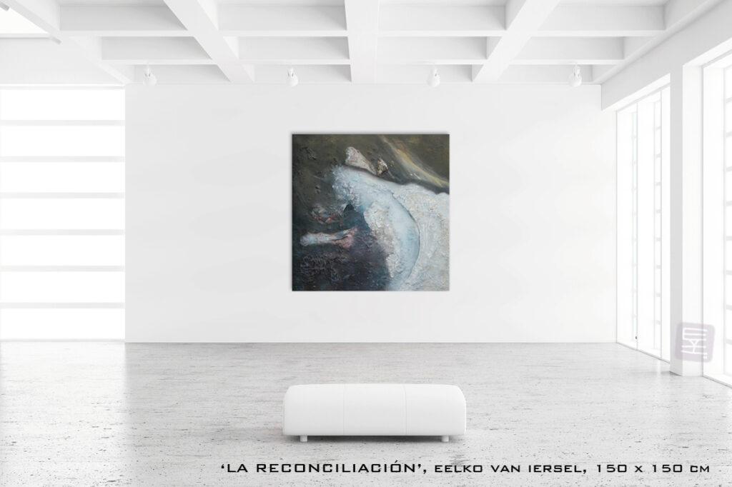 Schilderij La reconciliación van Eelko van Iersel, olieverf en zand op doek