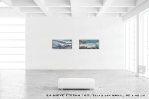Schilderij LA NIEVE ETERNA van Eelko van Iersel, olieverf en zand op doek abstract abstractpainting colourfield spiritueel reis landschap kleurrijk Himalaya Phuktal Zanskar Valley Valle de Zanskar India painting